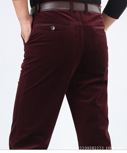 Trousers Long-Pants Waist-Elastic-Strip Thick Straight Corduroy Casual Section Dad Mid