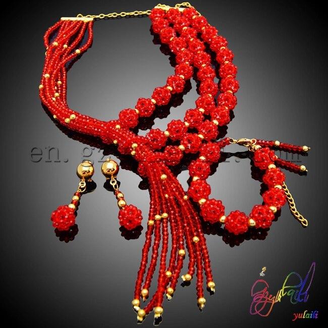 2017 nouvelles perles indiennes ensembles de bijoux nouveauté déclaration de fête collier Bracelet ensembles en gros femmes ensembles de bijoux
