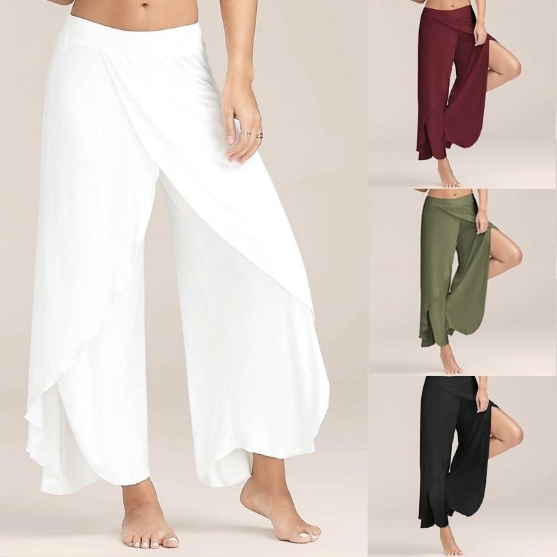 Women Fashion Casual High Slit Flowy Layered Palazzo Pants Loose Wide Leg Pants