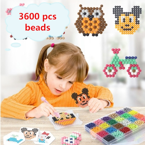 купить 24 Colors 3600 pcs Water Spray Aqua Hama Beads DIY Kit Ball Puzzle Game Fun handmaking 3D puzzle Educational Toys For Children по цене 1200.57 рублей
