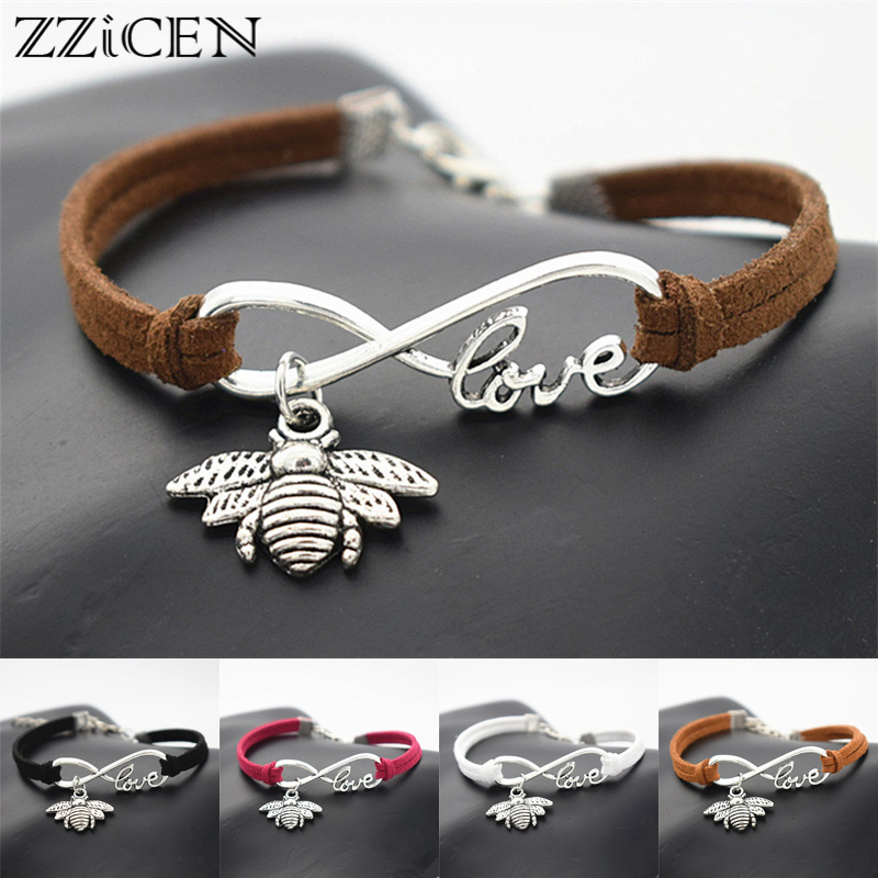 US $1 26 |Fashion Hard working Symbol Industrious Lover Antique Silver  Infinity Love Honeybee Cute Honey Bee Charm Gifts Leather Bracelets-in  Charm