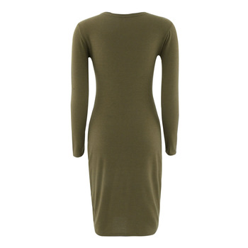 Autumn Spring Women Long Sleeve Dress Bodycon Sexy Slim Fit O-neck Casual Dresses QL Sale 1