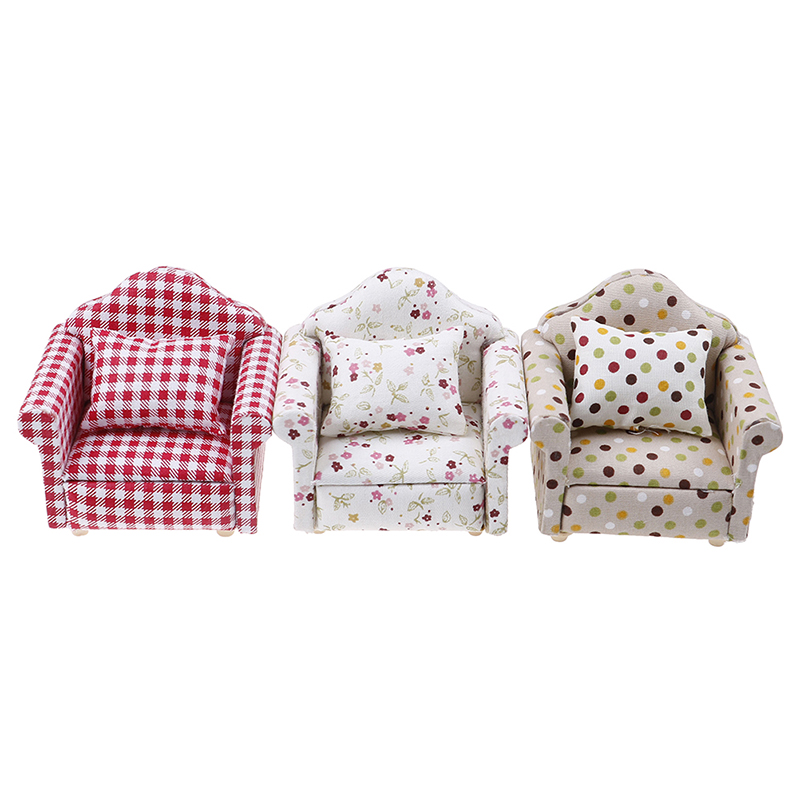 1:12 Dollhouse Miniature Furniture Sofa Chair Living Room Navy Stripe Soft Queen Princess Sofa For Baby Toys Girls Doll Gift