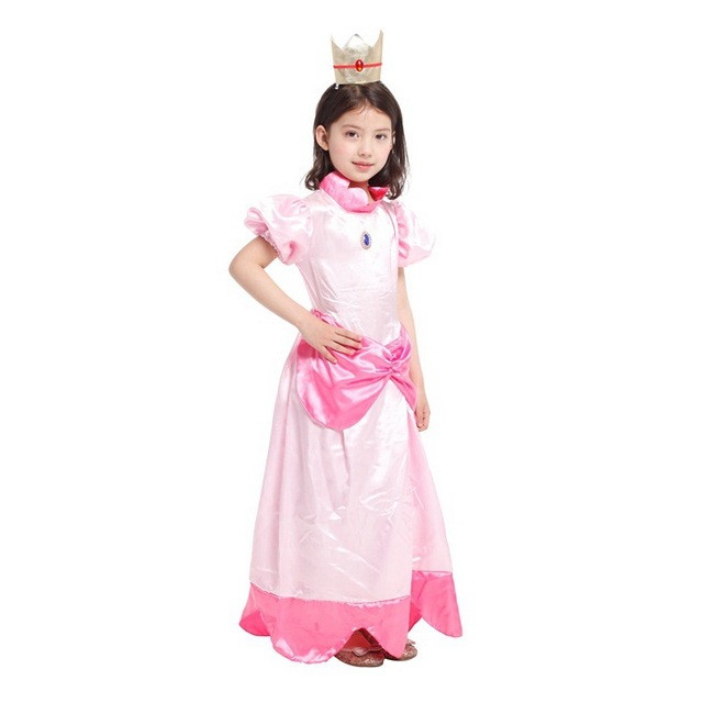 M-XL Kids Girls Super Mario Bro Peach Princess Costume Cosplay Movie Anime Fantasia Disfraces  sc 1 st  AliExpress.com & M XL Kids Girls Super Mario Bro Peach Princess Costume Cosplay Movie ...