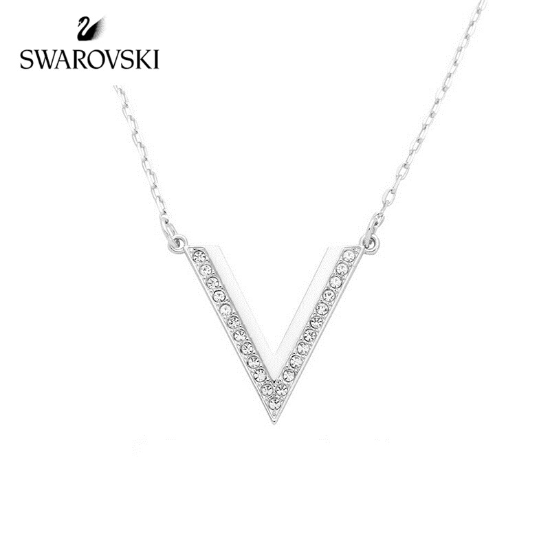 Original Genuine Swarovski necklace dazzle V ladies necklace/pendant for girlfriend fashion accessories small V silver 5140832Original Genuine Swarovski necklace dazzle V ladies necklace/pendant for girlfriend fashion accessories small V silver 5140832