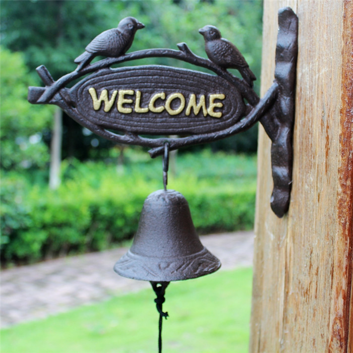Cast Iron Hanging Dinner Bell Welcome