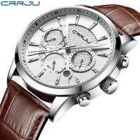 CRRJU nowe modne męskie zegarki analogowe zegarki kwarcowe 30M wodoodporny chronograf Sport data zegarki ze skórzanymi paskami montre homme
