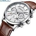 CRRJU новые модные мужские часы Аналоговые кварцевые наручные часы 30 м водонепроницаемые спортивные часы с хронографом и кожаным ремешком ...