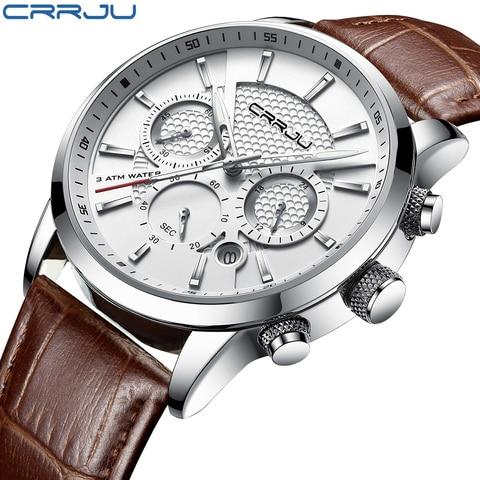 CRRJU New Fashion Men Watches Analog Quartz Wristwatches 30M Waterproof Chronograph Sport Date Leather Band Watches montre homme Pakistan