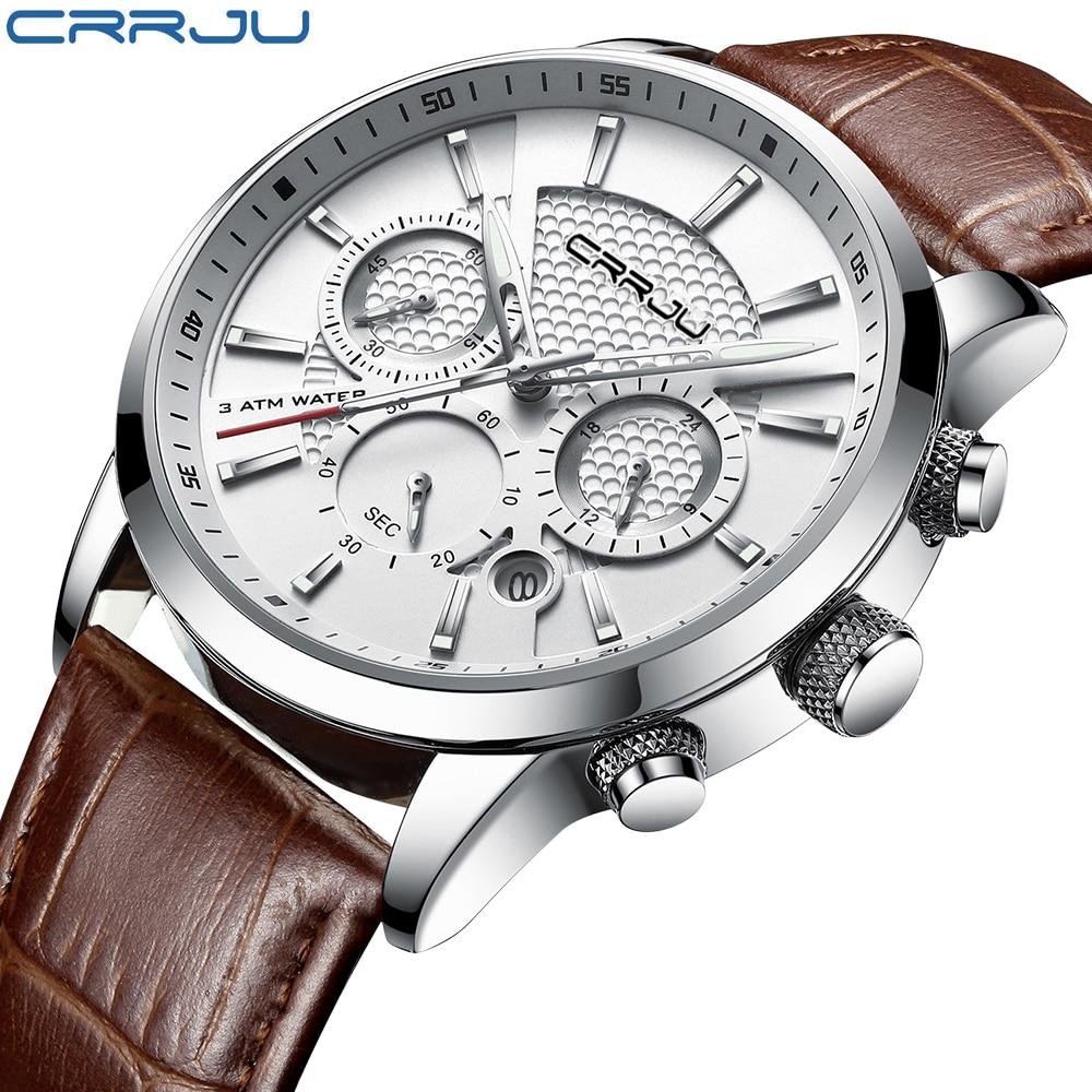 Crrju nova moda relógios masculinos analógico quartzo relógios de pulso 30 m à prova dwaterproof água cronógrafo esporte data pulseira de couro relógios montre homme