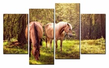Framed 4 Panels/Set Forest horse HD Canvas Print Painting Artwork Gift Wall Art P painting/12Y-122
