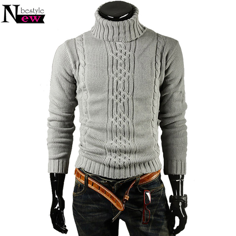 Knitted Sweater Pullover Turtleneck Men Casual Jacquard Solid Hedging Slim High-Lapel
