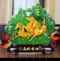 HOT SALE gift HOME Shop hall decoration FENG SHUI Business prosperity Money Drawing Good luck crystal jade horse Sculpture ART