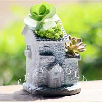 Old house design concrete cement planter silicone mold muti meat pot molds 3d vase mold handmade mould