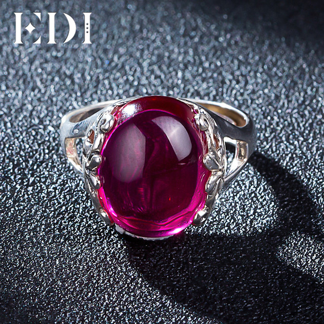 EDI 10ct Oval Garnet  925 sterling-silver-jewelry Ring For Women European Royal Promise Wedding Bands Opening Adjustable