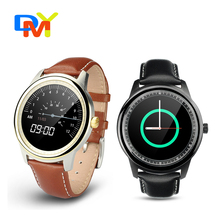 DUAL-CORE-CHIP-DM365 Bluetooth Smart Uhr Full HD IPS Bildschirm Echte Leder Writstrap SmartWatch Für Apple IOS Samsung Android Phone