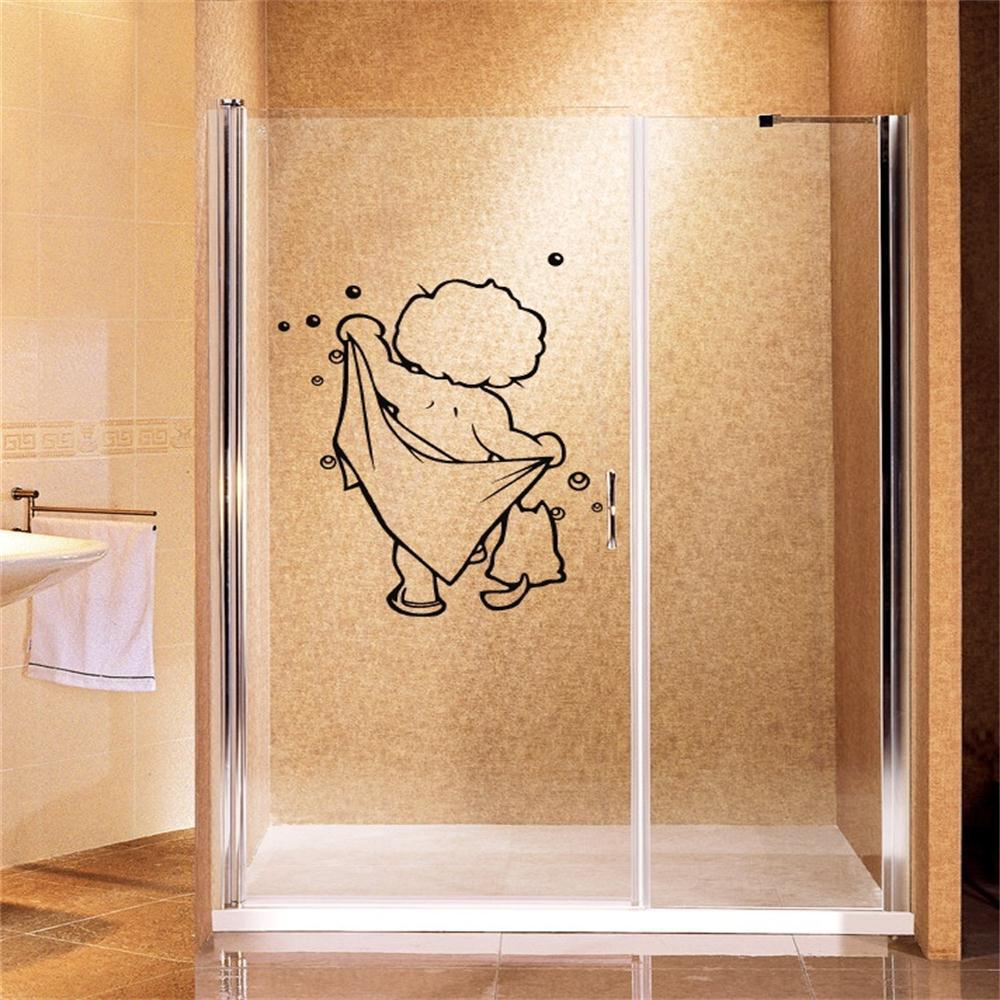 Lovely Baby Love Shower Wall Stickers Bathroom Glass Door
