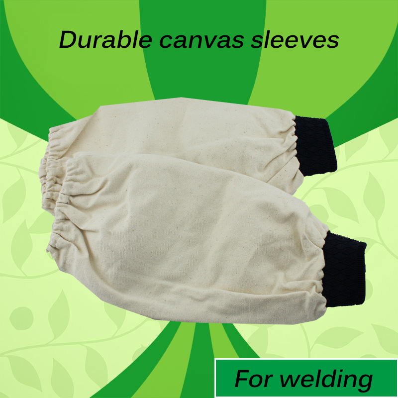 1 Pair Welding Arm Sleeves Flame Retardant Cotton Canvas 40cm Welder Tool Welding Worker Sleeve Protection Elastic Wrist