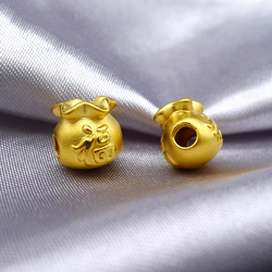 Hadiah terbaik Wanita Murni 999 24 K Kuning Emas 3D Dengan fu Tas 1 PCS 1-1.5g