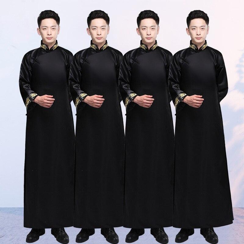 Black Groomsman Chinese Wedding Cheongsam Traditional Style Groom Best Man Evening Dress Long Gown Qipao Mens Size S - XXL