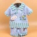 2016 с коротким рукавом футболка новорожденных девочек мальчиков детей дети + брюки из двух частей комплект одежды костюмы PLUS034