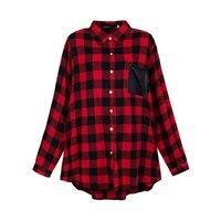 ZANZEA Plus Size Fashion Plaid Autumn Womens Blouses Long Sleeve Pockets Shirts Casual Turn Down Collar