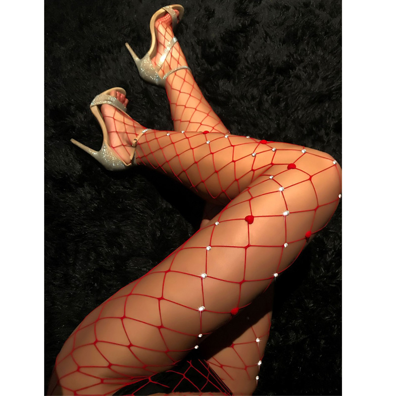 Sexy Fishing Net Stockings Women Sexy Tights Rhinestone Mesh Fishnet Pantyhose Bling Female Tights Hosiery Meias Collant Femme