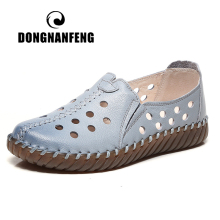 DONGNANFENG Women Female Old Mother Ladies Shoes Flats loafers Cow Genuine Leather Slip On Casual Hollow Out Size 35-41 ASN-202