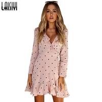 LAISIYI Fashion Print Dot Beach Autumn Dress Women Ruffle Sexy V Neck Mini Dress Cute Long