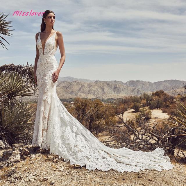 Silky Organza Vestido De Noiva Luxury lace Mermaid Bride Wedding Dress 2021 new Bridal Gown Sexy V-neck backless Robe de mariee 1