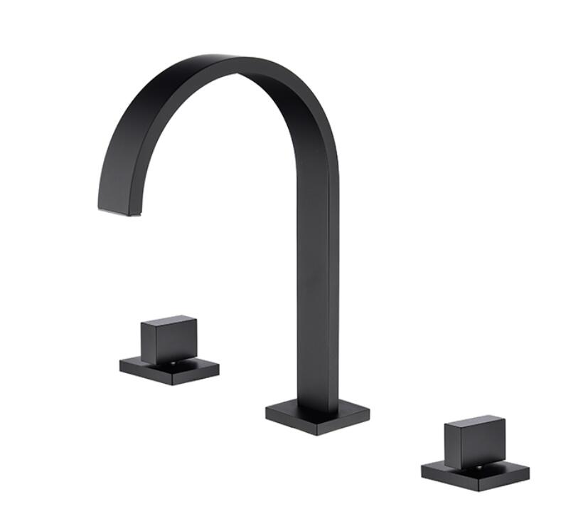 Black bathtub faucet copper hot and cold water split type cylinder side shower faucet four piece