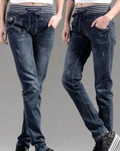 2016 весна Плюс размер свободные случайные джинсы женские упругие талии карандаш узкие брюки брюки