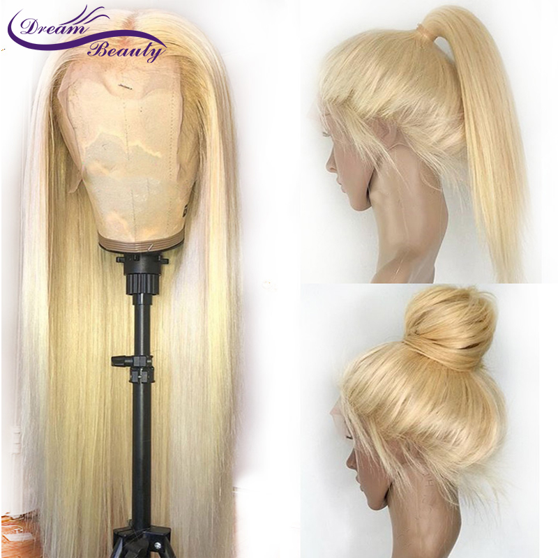 Dream Beauty blonde 613 Brazilian Remy Hair 150density 13x6 deep middle part Straight lace front human hair Wigs With Baby Hair