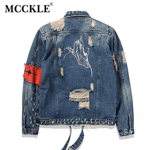Image 5 - Hip Hop Men Jeans Jacket Coat Hole Patchwork Long Sleeve Hi Street Mens Jackets 2020 Autumn Washed Ribbon Male Streetwear Coats