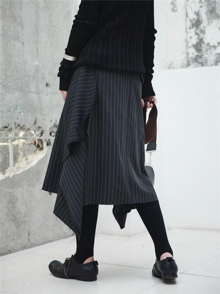 Asimmetrico Bordi Midi Donne Strisce Streetwear Di Cakucool A Gonne Per Pannello Strappati Progettista Nuove Giapponese Autunno Esterno Stile Del Nero Le CBdorxeW