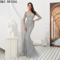 H & S свадебное Серебряное Вечернее платье Бисероплетение Русалка торжественное платье женское платье vestido de festa longo