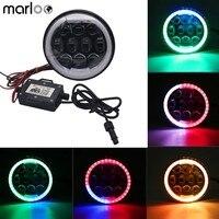Marloo 80W RGB Motorcycle headlight 5 3/4 5.75 Bluetooth App Control DRL Halo LED Headlamp For Harley Softail Dyna Sportster