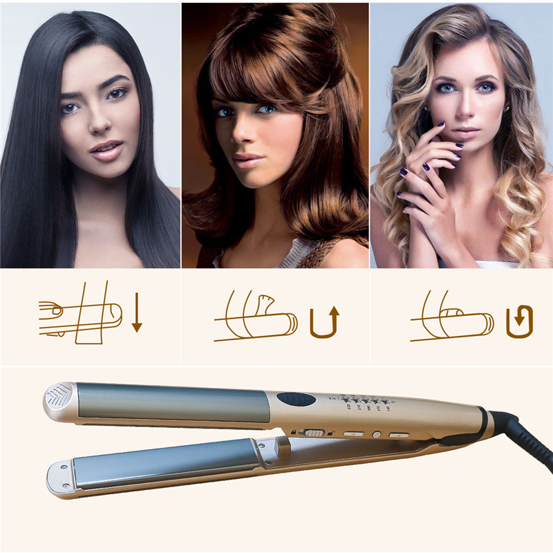 2-in-1 Professional Hair Straightening Dual Use Hair Straightener & Hair Curler Flat Iron Curling Iron Hair Styling Tools 47