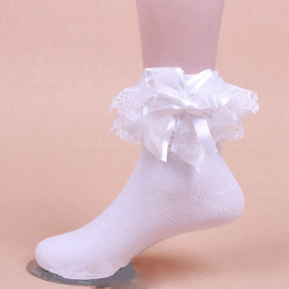 Honanda Girls Candy Color Cute Lace Ruffle Frilly Princess Style Bowknot Cotton Ankle Socks 5 Pack Spring Dress Socks