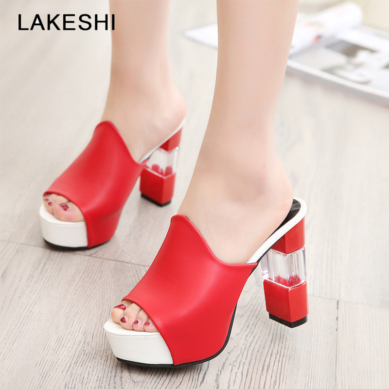 LAKESHI Square Heel Sandals High Heels Women Sandals 2018 Summer Women Heel Pumps Platform Open Toe Sandals Ladies Shoes lakeshi summer women pumps small heels wedding shoes gold silver stiletto high heels peep toe women heel sandals ladies shoes