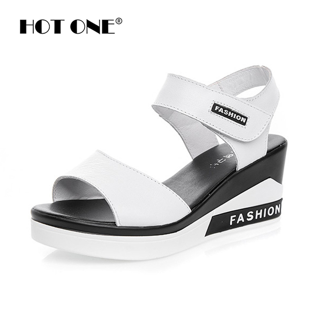 9e904a69e Women Flat Platform Sandals Shoes 2017 Summer Brand Women Genuine Leather  Wedges Platform Slides For Women Fashion Sandals 3666