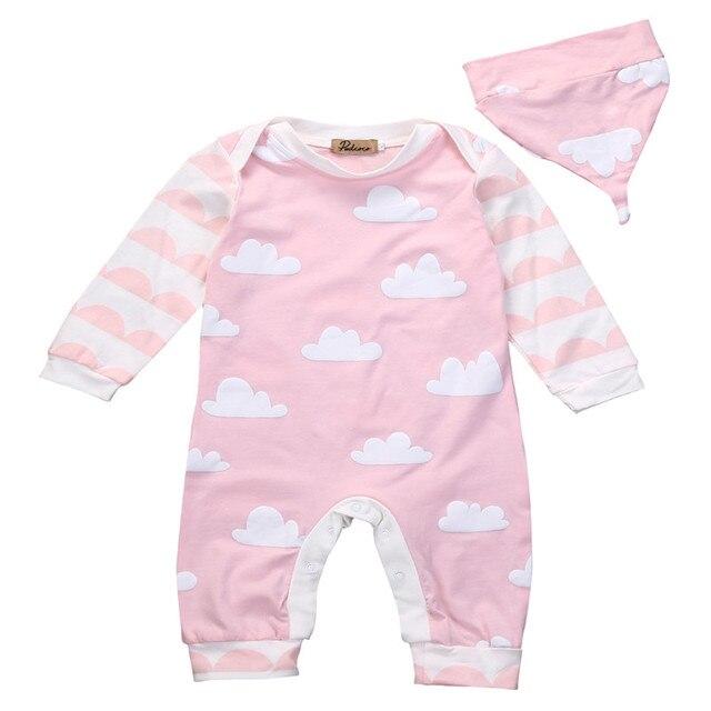 022fea620bc7 2017 Autumn Newborn Baby Boys Girls Clothes Set Cute Cloud Print Long  Sleeve Romper Jumpsuit Hat 2pcs Children Outfits Clothes