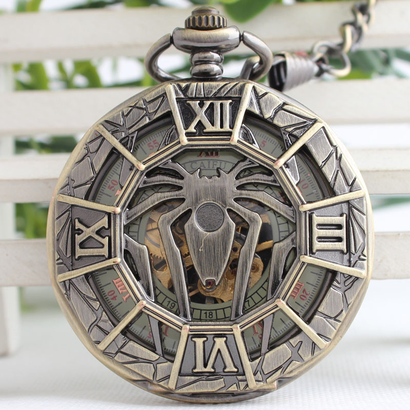 Spider Bronze Spiderman Pattern Hollow Quartz Pocket Watch Spider Mark Men Vintage Modern Necklace Pendant Birthday Gift 3JX058 antique retro bronze car truck pattern quartz pocket watch necklace pendant gift with chain for men and women gift