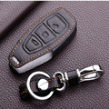 Leather Keychain Keyring Cover Case Holder For Ford 2013 2014 Focus 3 Fiesta Kuga Ecosport Fusion Leather Key Bag For Ford Case