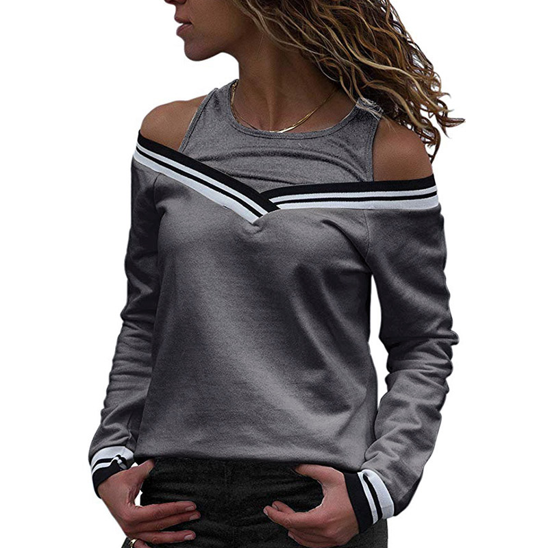 Women Autumn T-shirts Fake Two Pieces Off Shoulder Long Sleeves Patchwork Pullover Tops FS99