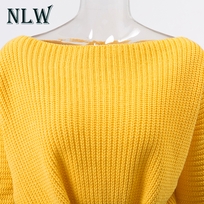 NLW Lace Up Crop Casual Women Sweater 19 Autumn Winter Knitted Pullovers Long Sleeve O Neck Loose Jumper Top Bandage Sweater 9