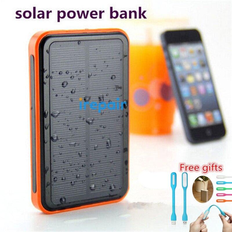 imágenes para Verdadera Prueba de Agua 12000 mah Batería 10000 mah Paquete Externo de La Batería Banco de la Energía 8000 mah Móvil Solar LED para el teléfono móvil de carga