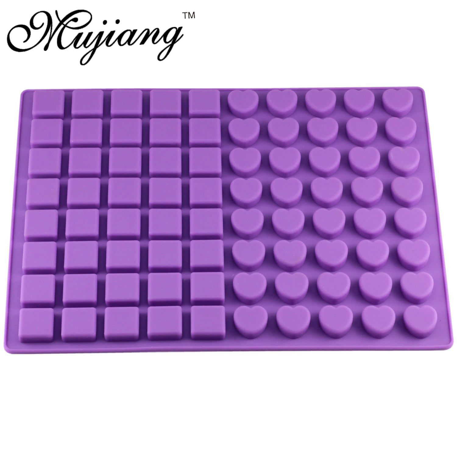 Mujiang 80 Cavity Silicone Gummy Square Heart Chocolate Mold Sugar Candy Jelly Molds Ice Tube Tray Mold Cake Decorating Tools