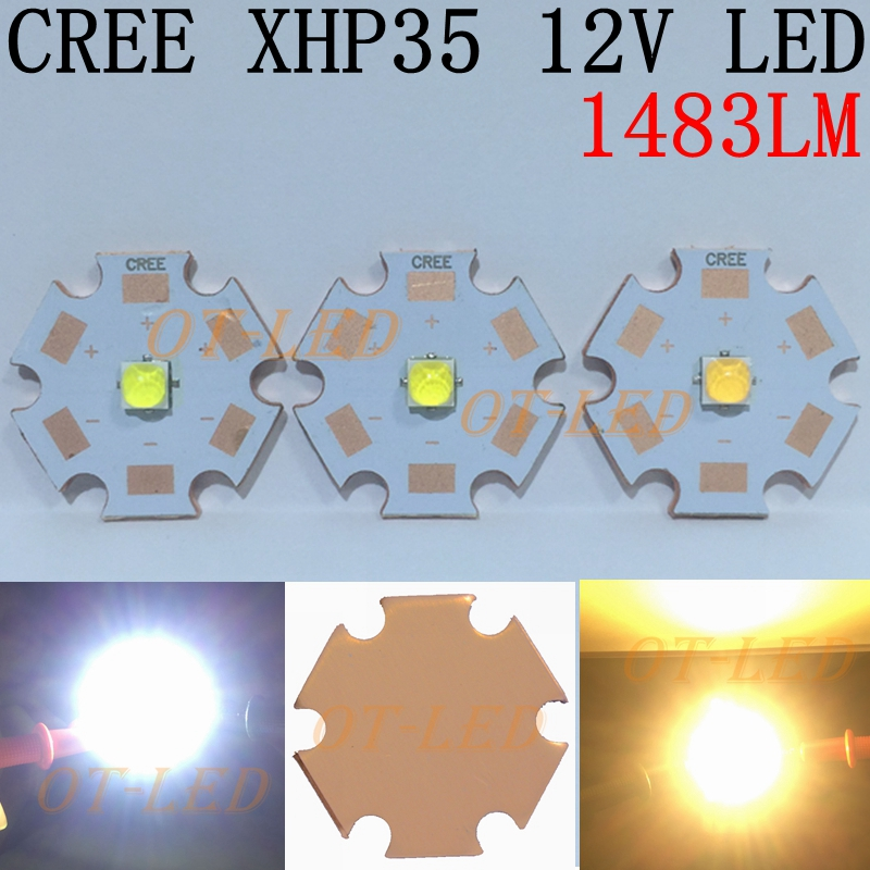 NEW 1PCS CREE 12V XHP35 HD Cool White Neutral White Warm White LED on 20mm Copper PCB/16mm 14mm 12mm 8mm PCB.