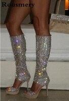 Летняя брендовая Для женщин с открытым носком, украшенные стразами шикарные Высокая платформа гладиатор Сапоги и ботинки для девочек вырез